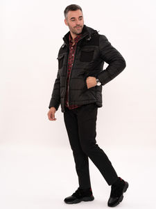 Hooded Burgundy Quilted Coat - Thumbnail