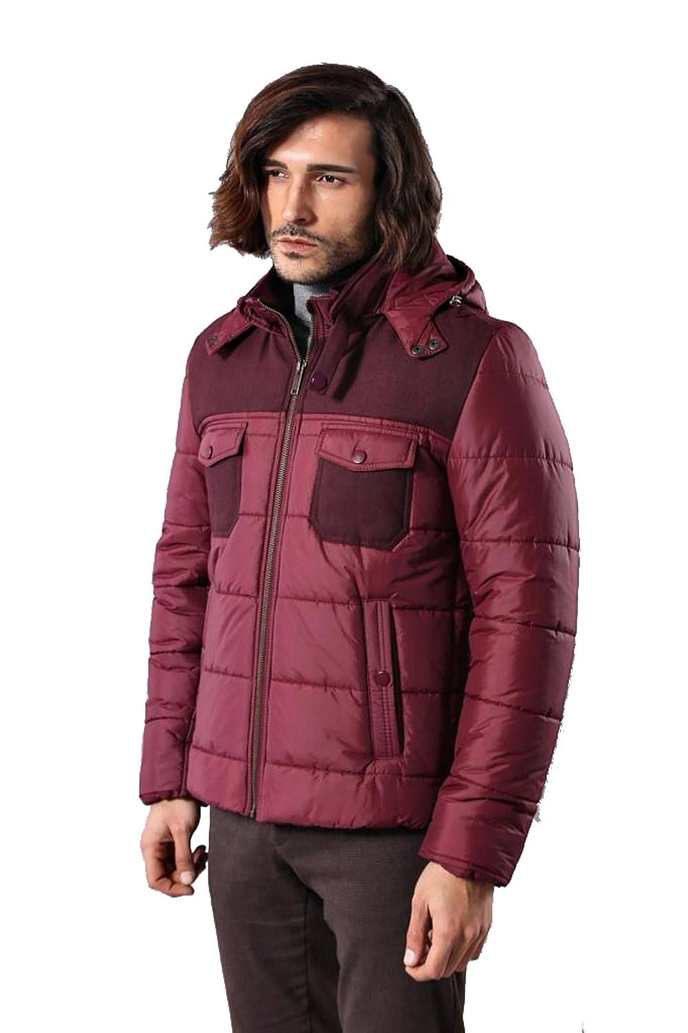Hooded Burgundy Quilted Coat