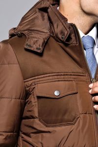 Hooded Puffer Brown Coat | Wessi - Thumbnail