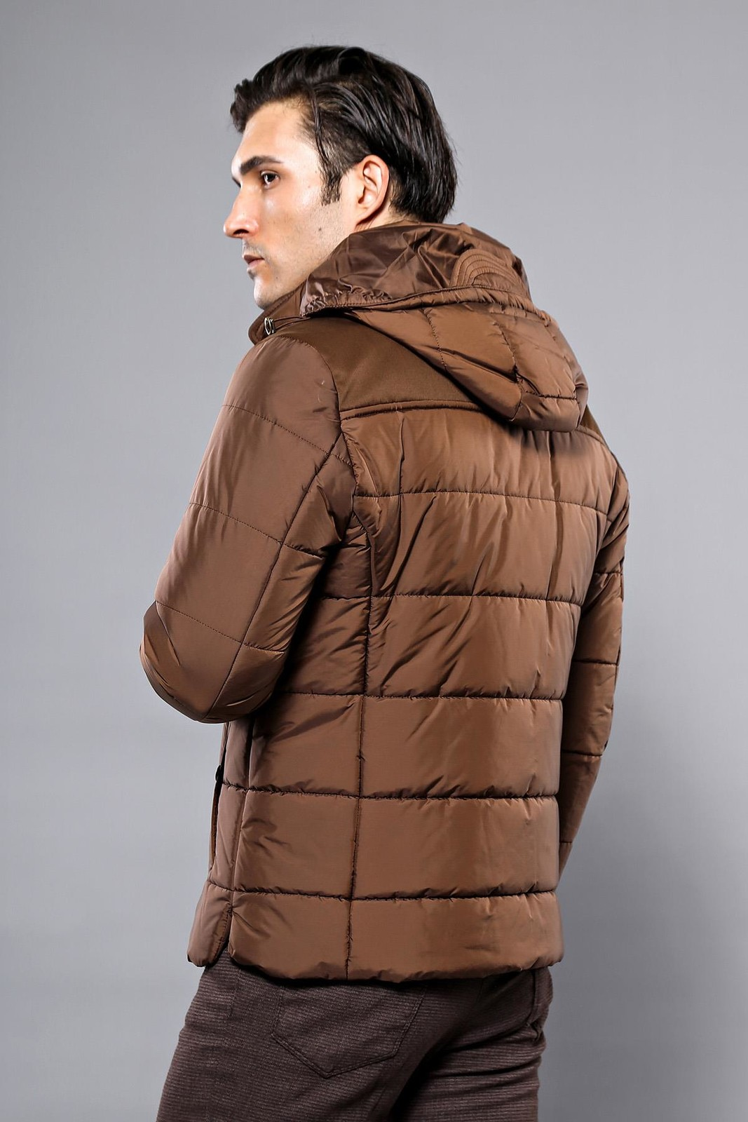 Hooded Puffer Brown Coat | Wessi