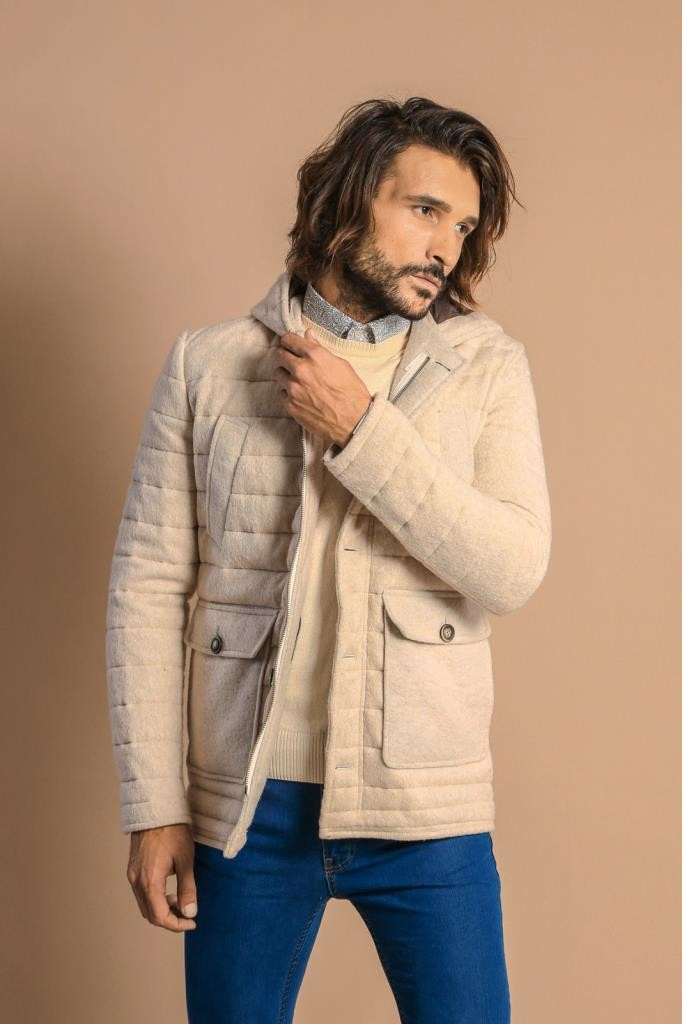 Hooded Whıte Felt Coat