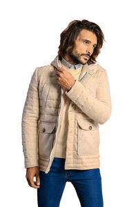 Hooded Whıte Felt Coat - Thumbnail