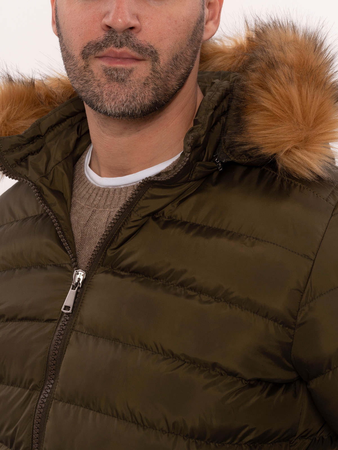 Khaki Fur Hooded Men's Puffer Coat   Wessi