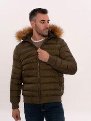 Khaki Fur Hooded Men's Puffer Coat   Wessi - Thumbnail