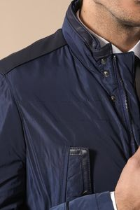 Leather Modeled Blue Slim Fit Quilted Jacket - Thumbnail