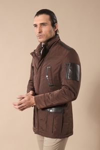 Leather Modeled Brown Slim Fit Quilted Jacket - Thumbnail