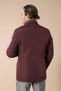 Leather Modeled Burgundy Slim Fit Quilted Jacket - Thumbnail