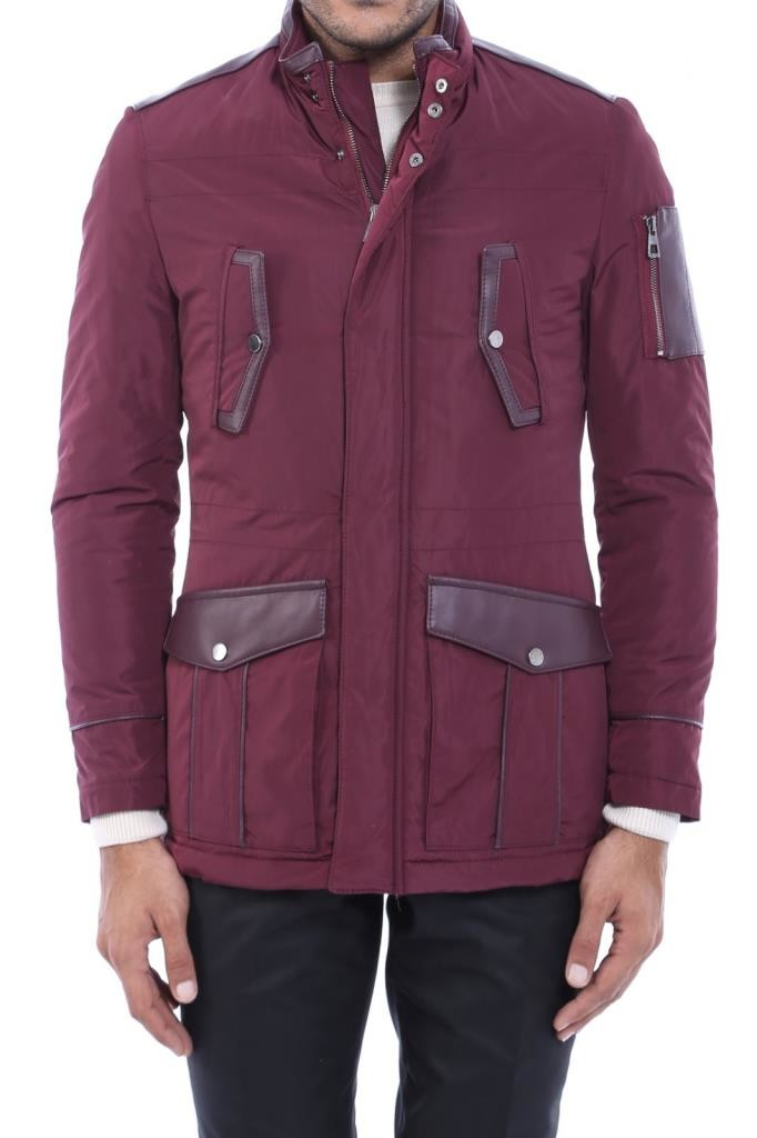 Leather Modeled Burgundy Slim Fit Quilted Jacket