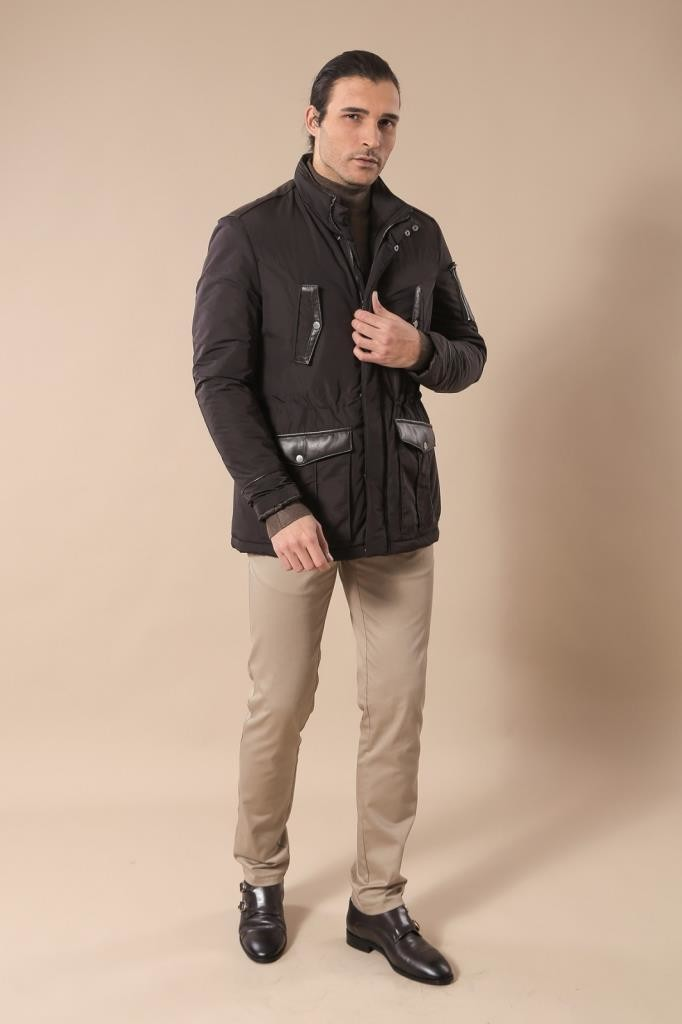 Leather Modeled Dark Brown Slim Fit Quilted Jacket