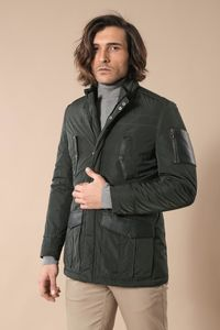 Leather Modeled Green Slim Fit Quilted Jacket - Thumbnail