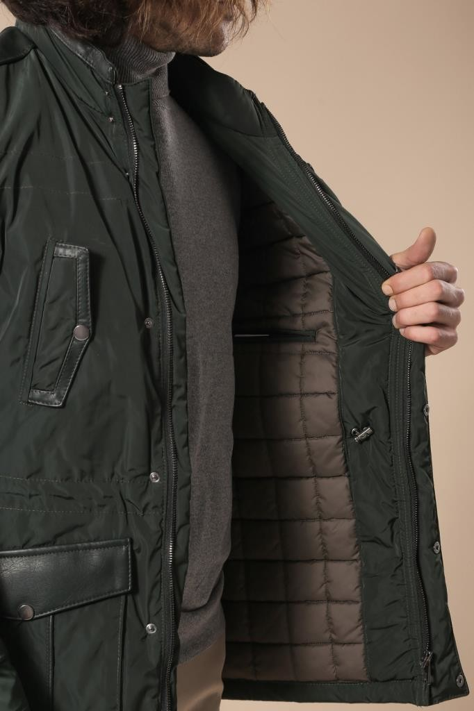 Leather Modeled Green Slim Fit Quilted Jacket