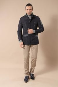 Leather Modeled Navy Blue Slim Fit Quilted Jacket - Thumbnail