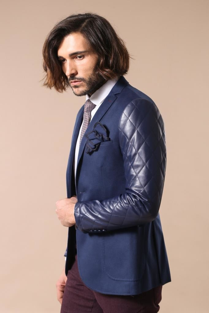 Leathered Sleeve Quilted Navy Blue Cashe Blazer | Wessi