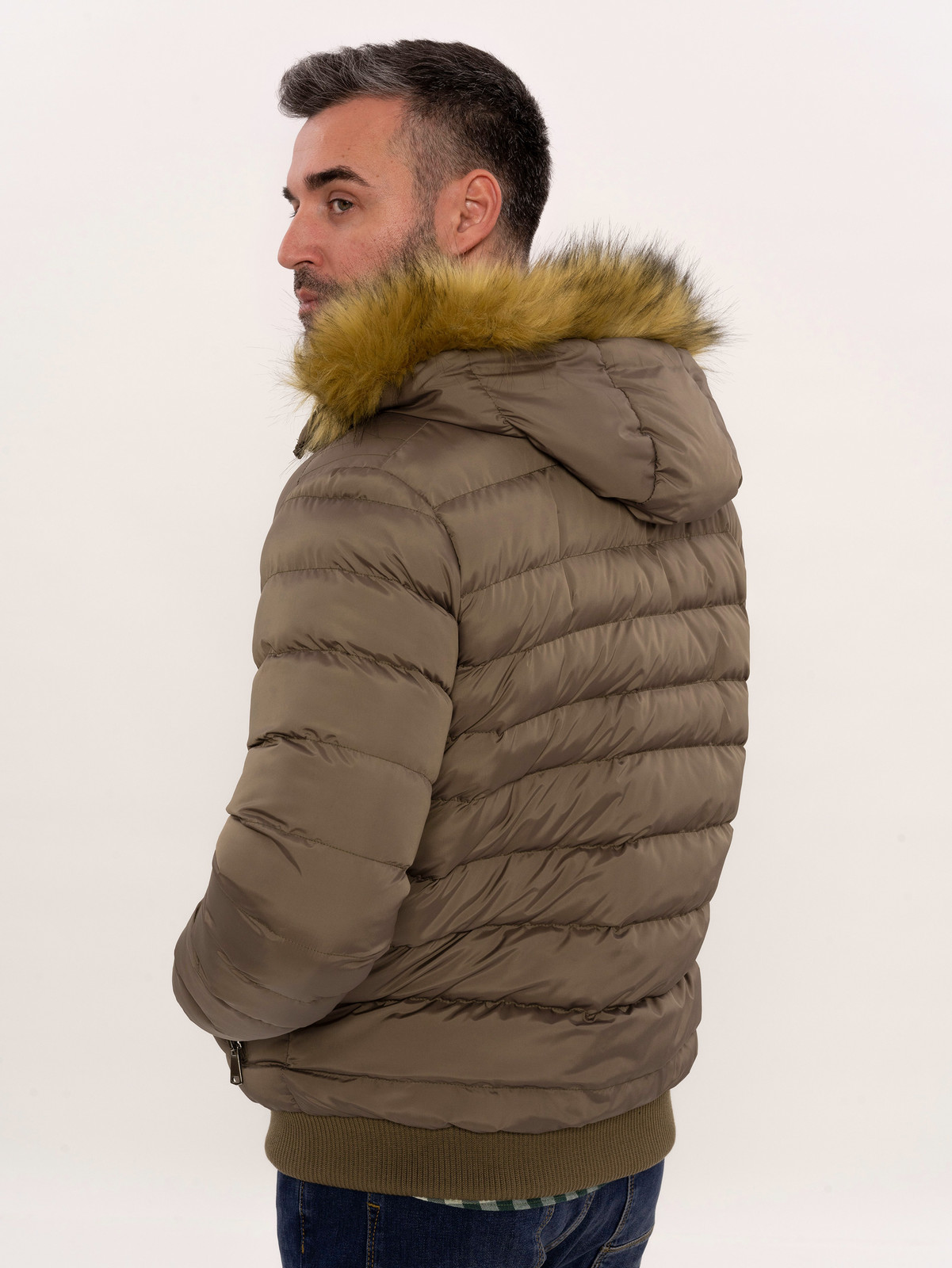 Men's Brown Down coat with Fur | Wessi