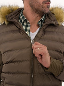 Men's Brown Down coat with Fur | Wessi - Thumbnail