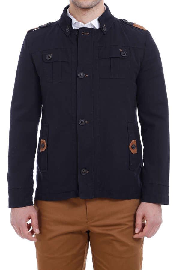 Modeled Slim Fit Black Coat