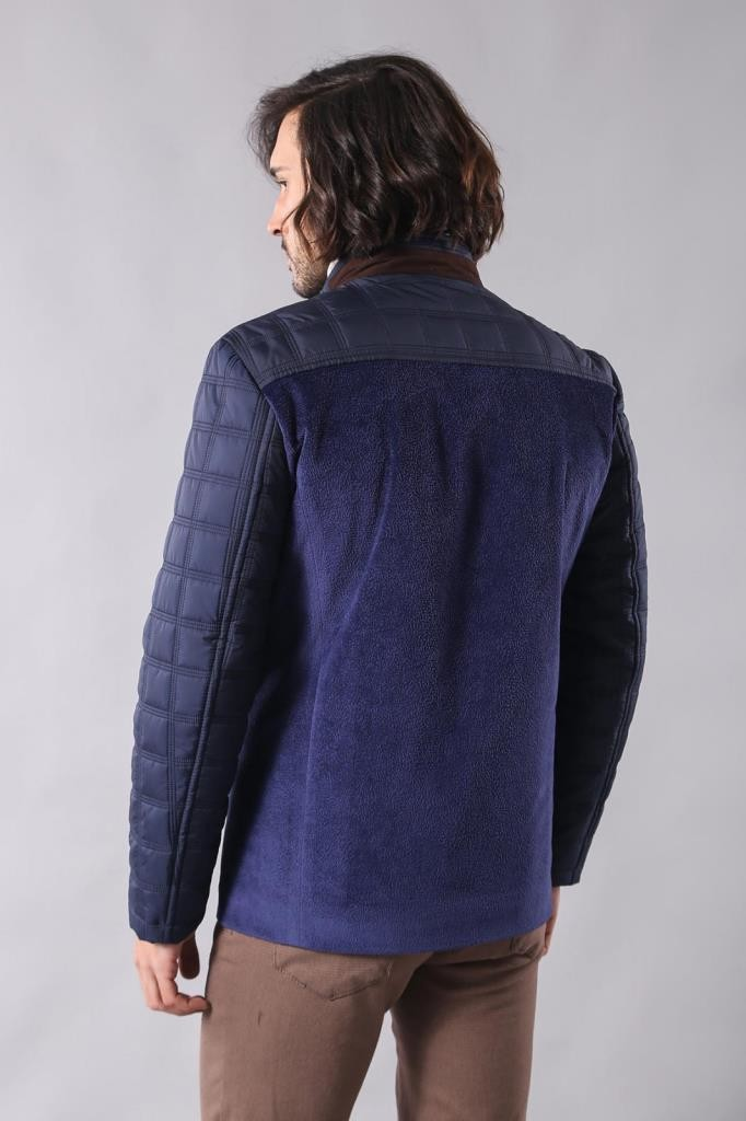 Navy Blue Cashe Quilted Coat