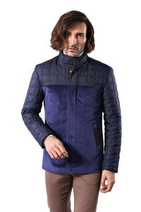 Navy Blue Cashe Quilted Coat - Thumbnail