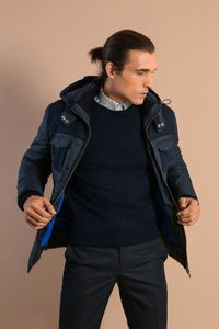 Navy Blue Down Jacket - Thumbnail
