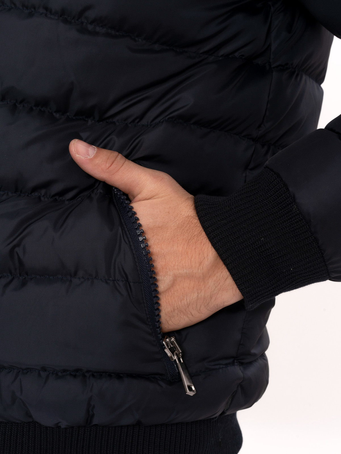 Navy Blue Hooded Men's Down Coat | Wessi
