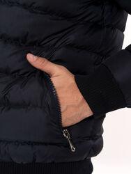 Navy Blue Hooded Men's Down Coat | Wessi - Thumbnail