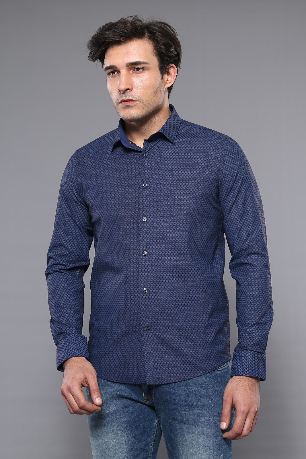 Navy Blue Patterned Long Sleeve Shirt | Wessi