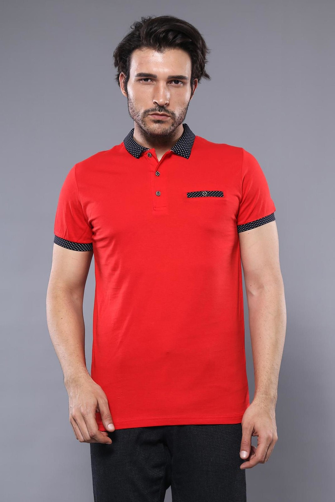 Navy Detailed Men's Polo Shirt Red | Wessi