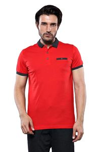 Navy Detailed Men's Polo Shirt Red | Wessi - Thumbnail
