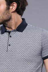 Patterned Grey Men's Polo Shirt | Wessi - Thumbnail