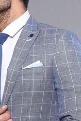 Plaid Cotton Blue Sport Coat | Wessi - Thumbnail