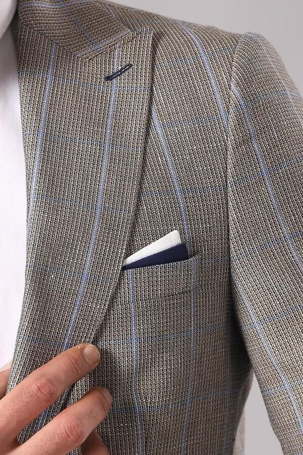 Single Button Plaid Beige Blazer