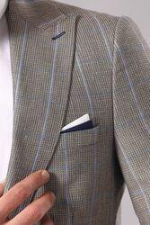 Single Button Plaid Beige Blazer - Thumbnail