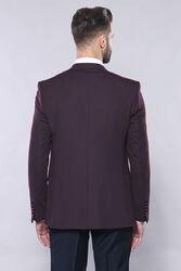 Plain Burgundy Vest Blazer Set   Wessi - Thumbnail