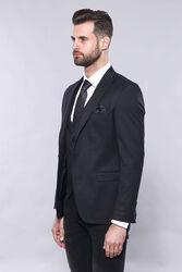 Plain Navy Blue Blazer Vest Set   Wessi - Thumbnail