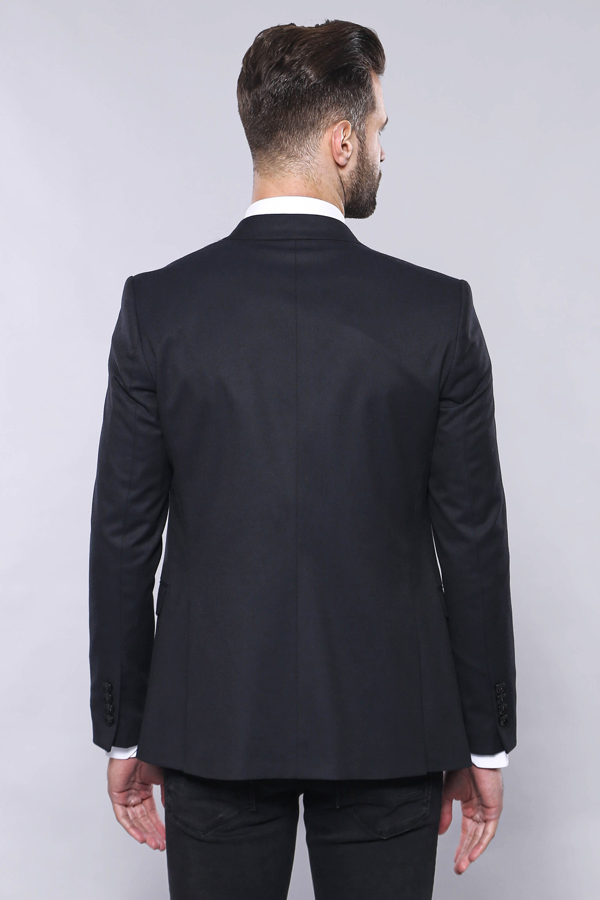 Plain Navy Blue Blazer Vest Set   Wessi