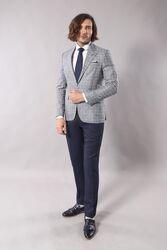 Single Button Pointed Collar Blazer - Thumbnail