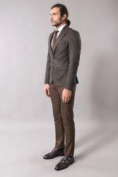 Self-Patterned Brown Men's Blazer   Wessi - Thumbnail