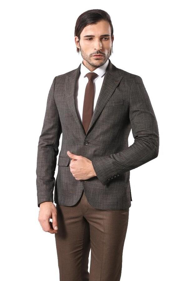 Self-Patterned Brown Men's Blazer   Wessi