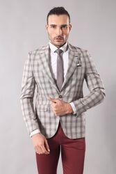Single Button Wide Pointed Collar Beige Blazer - Thumbnail