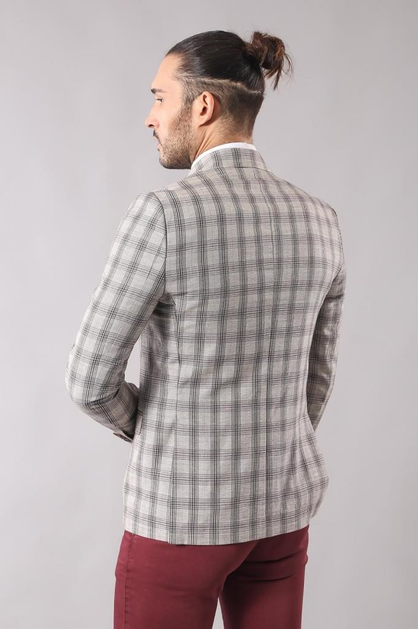 Single Button Wide Pointed Collar Beige Blazer