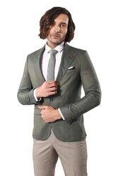 Single Button Wide Pointed Collar Green Blazer - Thumbnail