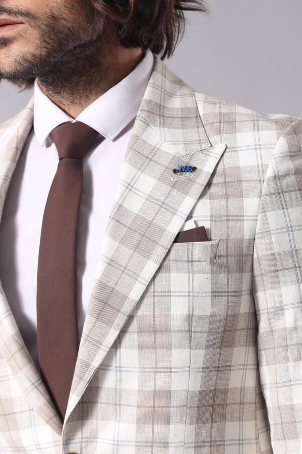 Single Button Wide Pointed Collar Light Brown Blazer