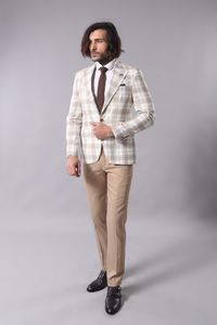 Single Button Wide Pointed Collar Light Brown Blazer - Thumbnail