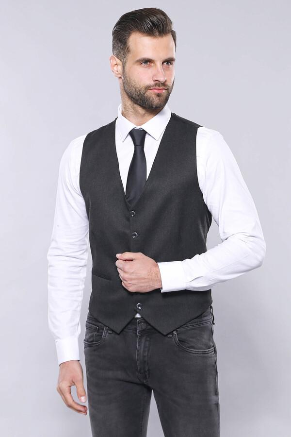Smoked Plain Blazer Vest Set | Wessi
