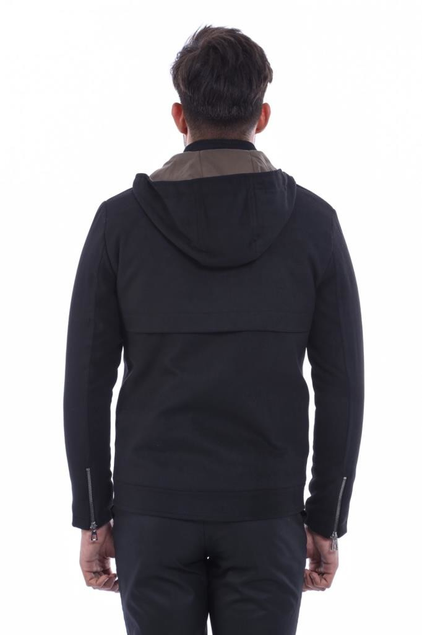 Zippered Sleeve Hooded Black Coat