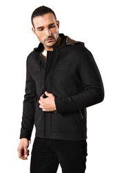 Zippered Sleeve Hooded Black Coat - Thumbnail
