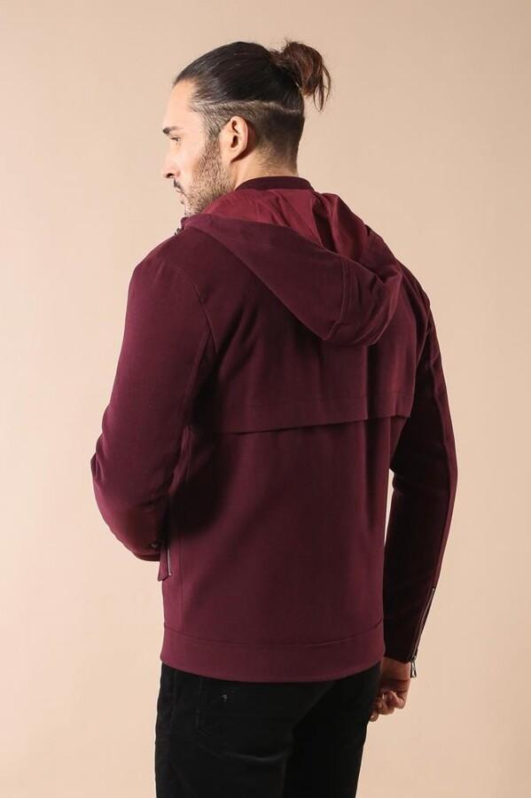 Zippered Sleeve Hooded Burgundy Coat