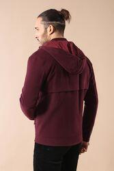 Zippered Sleeve Hooded Burgundy Coat - Thumbnail