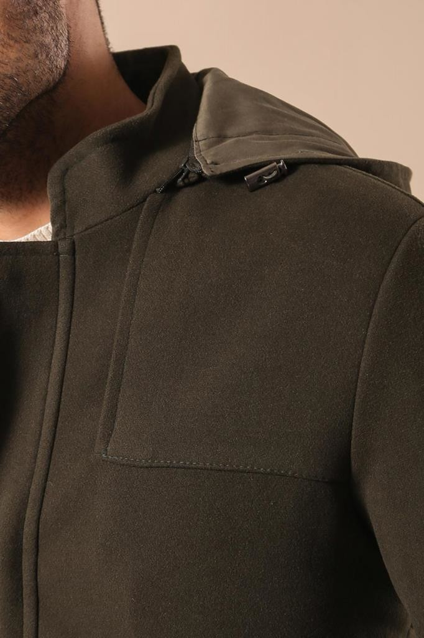 Zippered Sleeve Hooded Green Coat