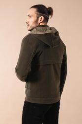 Zippered Sleeve Hooded Green Coat - Thumbnail
